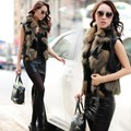Women Fashion Faux Fox Fur Spliced Pu Leather Vest Jacket Coat Gilet autunmn Winter Short Outerwear