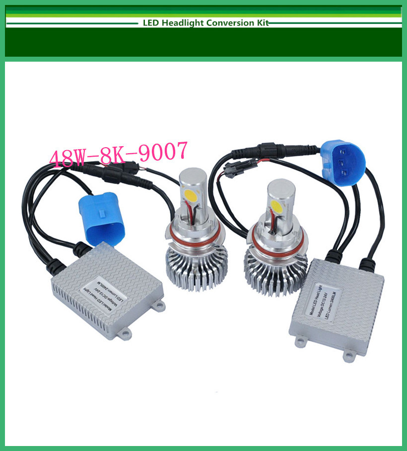 New brand Car CREE 9007 LED Headlight Conversion Kit 48W 8000K 2*24Watt LEDs Lamp(China (Mainland))