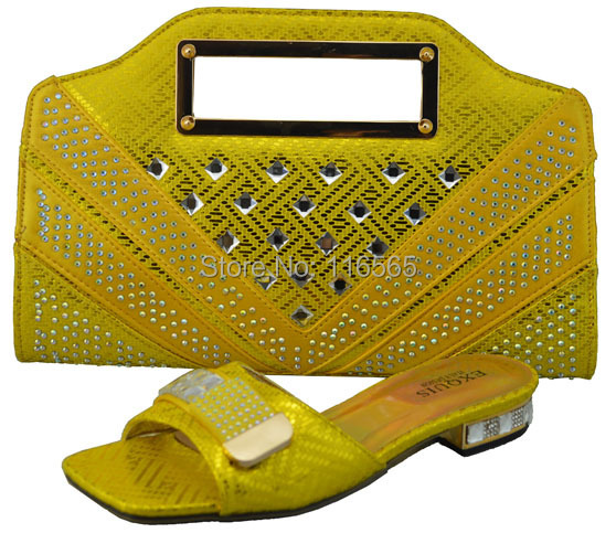 New design lady shoes bags set wedding italian stone 1308-41 YELLOW - Jacky's Fashion Store store