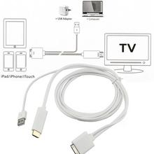 1pc Dock to HDMI HDTV TV ADAPTER USB CABLE for Apple for iPhone 4 4S for iPad 2 3 for iPod Newest(China (Mainland))