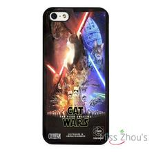 Funny Cat Star Wars Force Awakens back skins mobile cellphone cases for iphone 4/4s 5/5s 5c SE 6/6s plus ipod touch 4/5/6