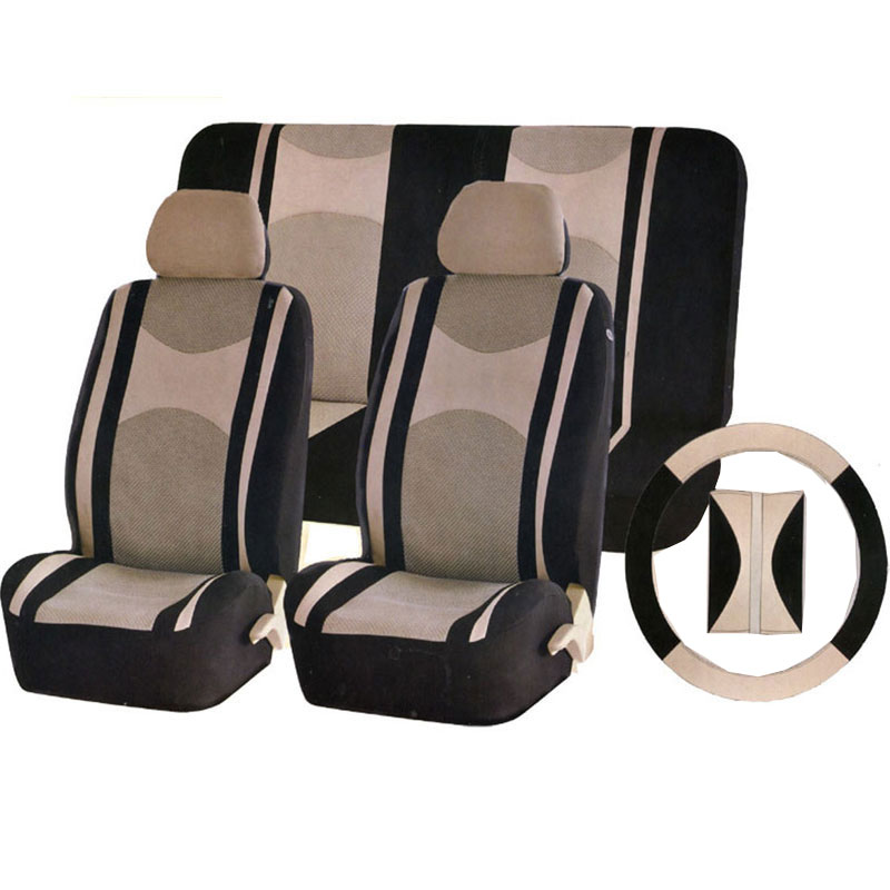 car seat cover universal size available for airbag rear seat back split or not with steering wheel cover safety belt seat cover(China (Mainland))