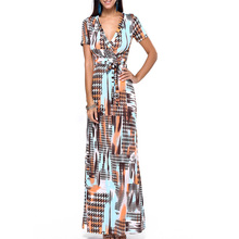 Buy new style women Multicolor Floral Print Split Beach Wear slim Maxi Dress Women Short Sleeve V Neck Long Dress party dress J074 for $13.97 in AliExpress store