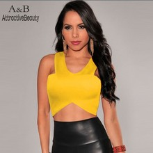 2015 New Women Sexy O-neck Sleeveless T-shirt Club Wear Camisole Crop Tops Bodycon Bandage Top Free Shipping 41(China (Mainland))