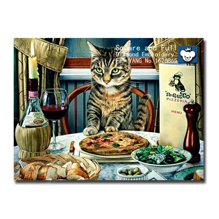 Dining table cat diamond mosaic painting animals 40x30cm Full and square diamonds Cross Stitch Kit for Diamond pattern(China (Mainland))