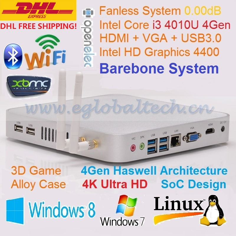 Barebone PC HTPC 4K HD Kodi Haswell SoC Design Intel Core i3 4010U Mini PC Windows Industrial Computer 3 Years Warranty DHL Free(China (Mainland))