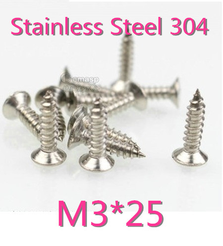 200pcs/lot M3*25 M3 Stainless Steel  Flat Head micro electronic cross recessed phillips countersunk self tapping screw<br><br>Aliexpress