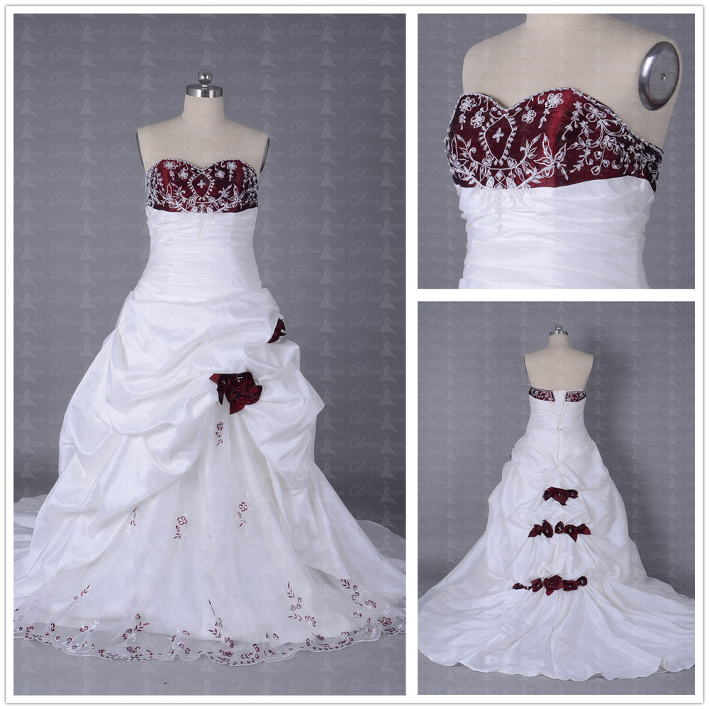 Wedding Dress With Red Corset : Custom made elegant sweetheart embroidery pleated corset
