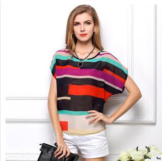summer style rainbow colored stripes bat shirt loose short-sleeved blusas irregular striped chiffon blusa feminina 007(China (Mainland))