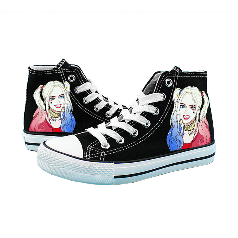 Cosworld Suicide Squad Canvas Shoes Women Casual High-Top Star Flat ShoesPrinting Shoes Harley Quinn Joker Leisure Shoes (4)