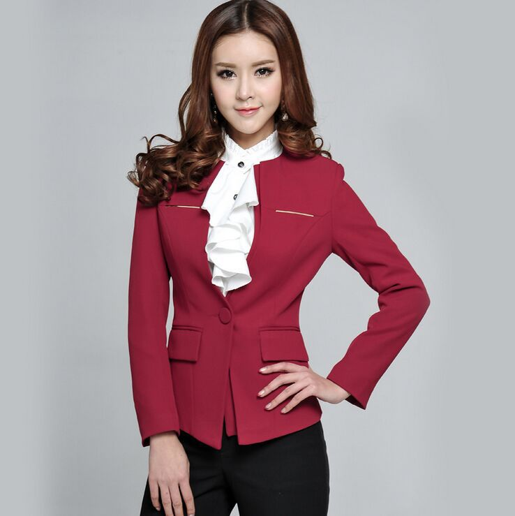 Woman Red Dress Suit