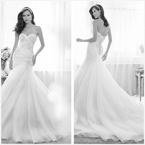 2015 ретро стиль элегантный Русалка Свадебные Платья видения сад Свадебные Платья Из Органзы