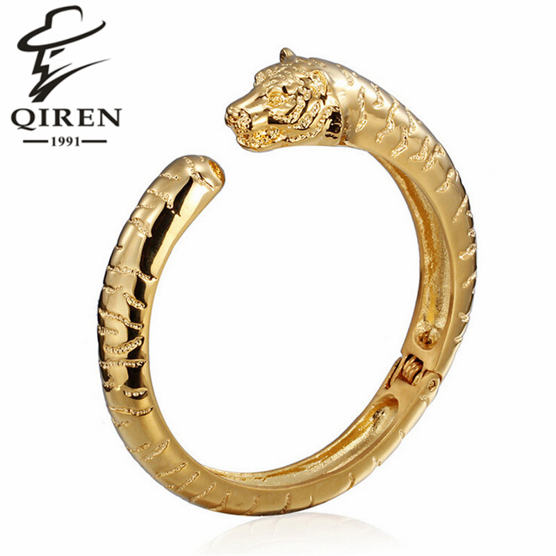 Punk Rock Men's Tiger Head Stainless Steel Wrist Bracelet Bangle Gold Plated Chain Hotsale(China (Mainland))