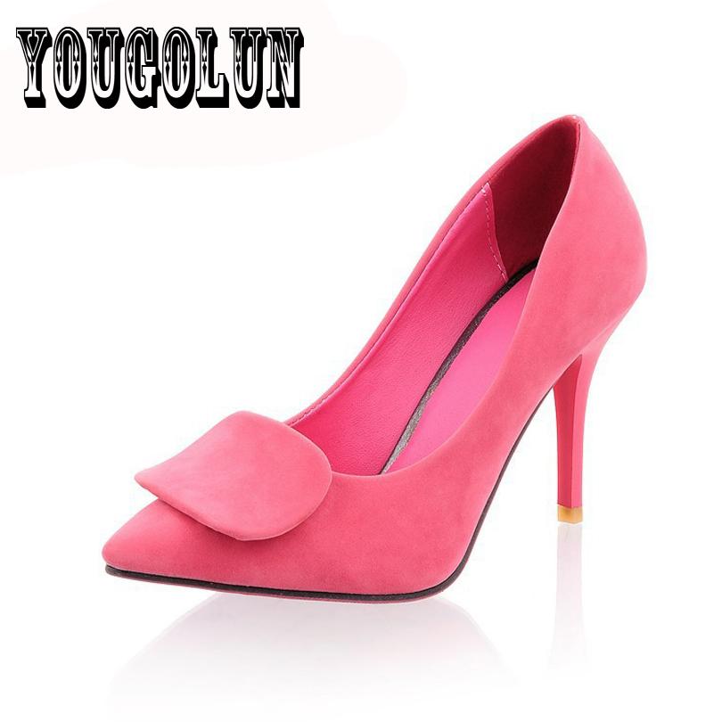 Здесь можно купить  Flock leather 4 color Thin high heels pointed toe wedding dress women shoes,Summer elegant woman Pumps ladies sapatos femininos  Обувь