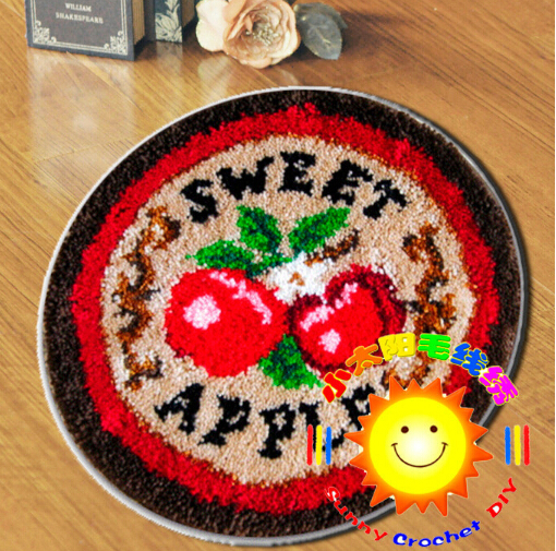 DIY Mat Needlework Kit Unfinished Crocheting Rug Yarn Cushion Embroidery Carpet Sweet Apple(China (Mainland))