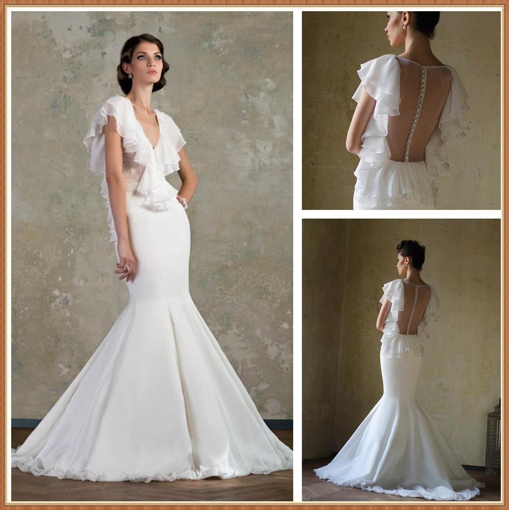 Popular butterfly sleeve wedding dress buy cheap butterfly for Butterfly back wedding dress
