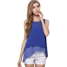 New 2016 free shipping women summer leisure top chiffon blouse lace lady shirt base Pure short sleeve loose