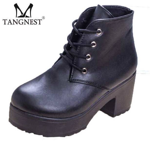 Женские ботильоны 2016 весна женщины панк узелок платформы лианы белый черный насыщенный туфли на каблуках женщина XWX702