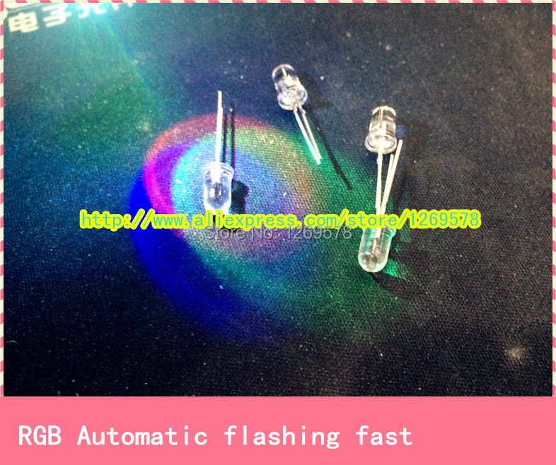 200pcs/lot+Free Shipping Dip 5mm RGB LEDs Diode 2 Pins fast Automatic Flash ( red, green, blue and Multicolor )Toy led(China (Mainland))