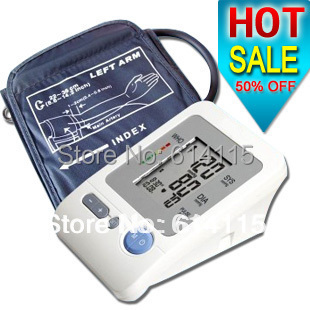 Free shipping 50% off Electronic Arm-type fully automatic blood pressure monitor Heart Beat Meter+LCD display +120 memories(China (Mainland))