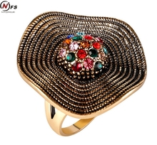 Buy NFS Vintage Rainbow Gold Fashion Unisex Multicolor Cubic Zirconia Rings Women Gold Silver Big Ring Party Drop Ship for $1.43 in AliExpress store