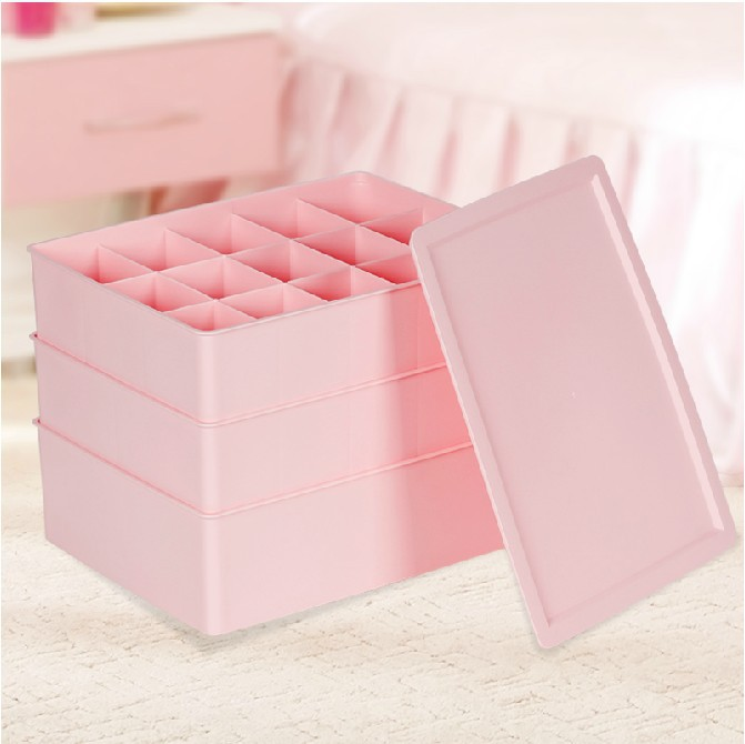Honey Flower plastic underwear drawer storage box three-piece three cover bra underwear socks finishing box storage(China (Mainland))