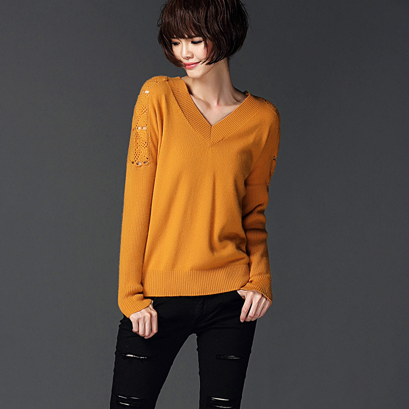 2015 Autumn New European and American deep V-neck long-sleeved pullover loose sweater Free shipping Y0902-188C