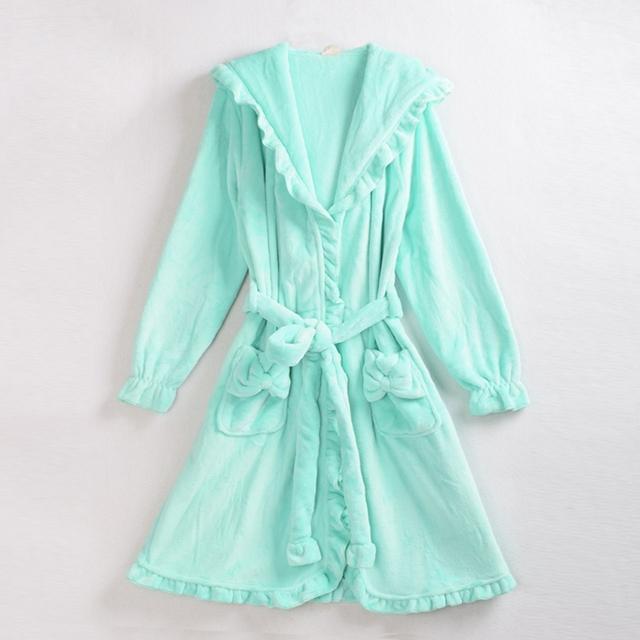 Сладкие Женщины Теплый халаты Мягкий коралл руно с капюшоном Ночные Robe оборками ...