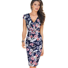 Vfemage Womens Sexy Deep V Ruched Floral Print Lace Cap Sleeve Tunic Slim High Waist Casual Party Club Fitted Sheath Dress 1970(China (Mainland))