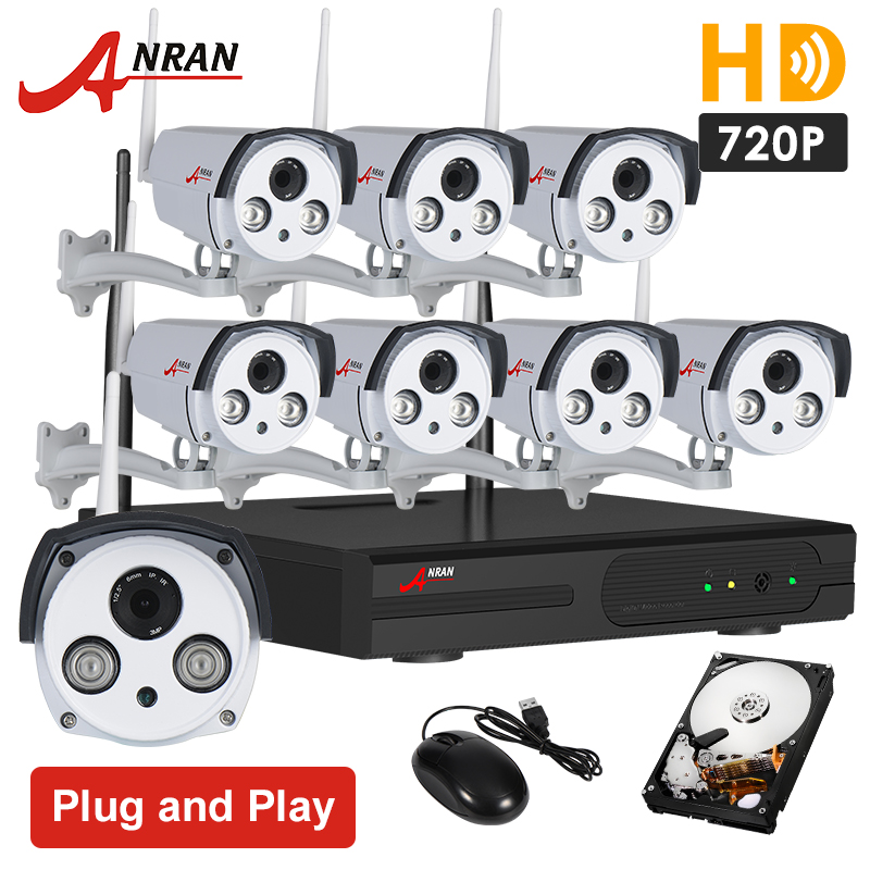 Plug And Play Surveillance System 8CH Wireless NVR 2TB HDD P2P 720P H.264 HD Outdoor Security IP Camera WIFI CCTV System(China (Mainland))
