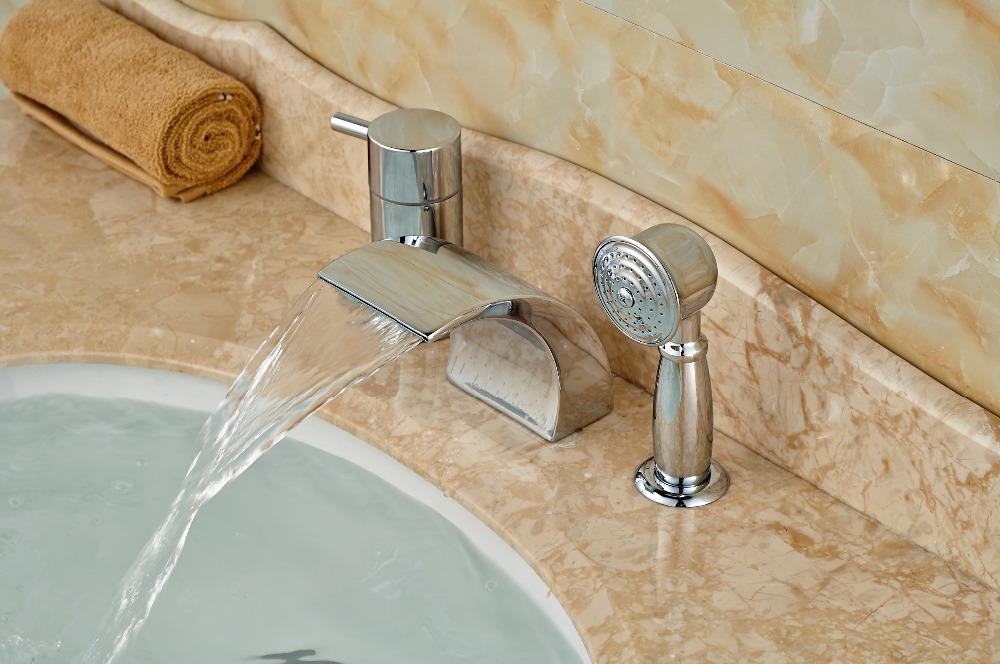 Luxury Roman Waterfall Bathroom Basin Faucet W Hand Sprayer Diverter Mixer T