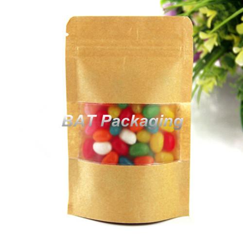 12*20cm Stand Up ZipLock Kraft Paper Brown Bag Glossy Food Paper Bag Kraft Paper Bag With Matte Window Home Food Storage Bags(China (Mainland))