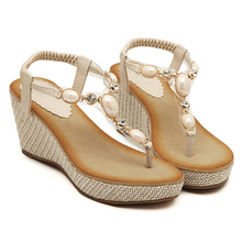 Buy Bohemia 2017 sandals confortable wedges platform women sandals fashion beading design summer shoes free for $22.95 in AliExpress store