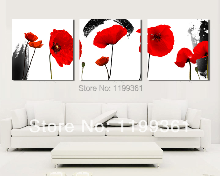 3 Piece Modern Wall Painting Large Abstract Red Poppy Flower Home Decoration Art Picture Paint Canvas Prints - Idea Furnishing store