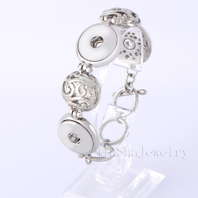 (10 pieces/lot) 2015 new design metal interchangeable snap button bracelet ginger snaps button jewelry JSMB 2003-91
