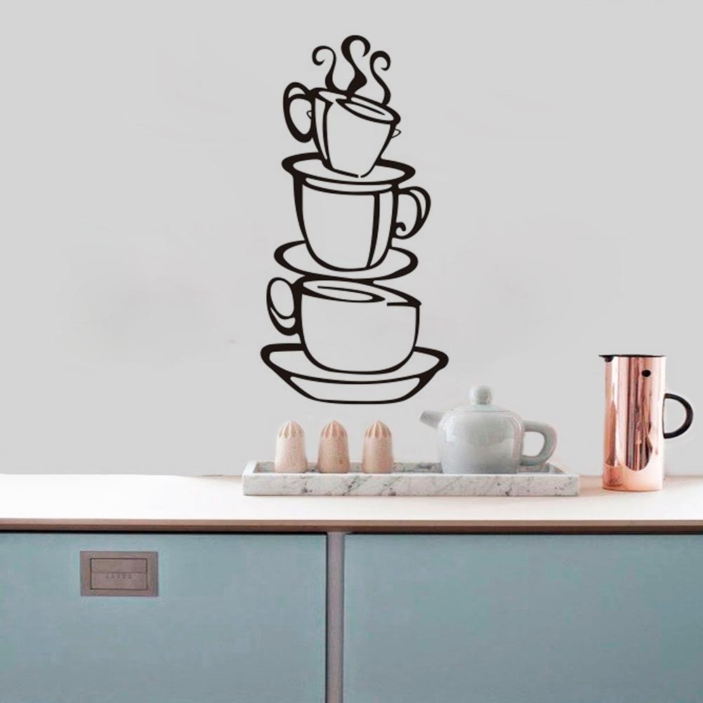 Coffee cup stickers shop kitchen decorations 8104 diy for Mural coffee