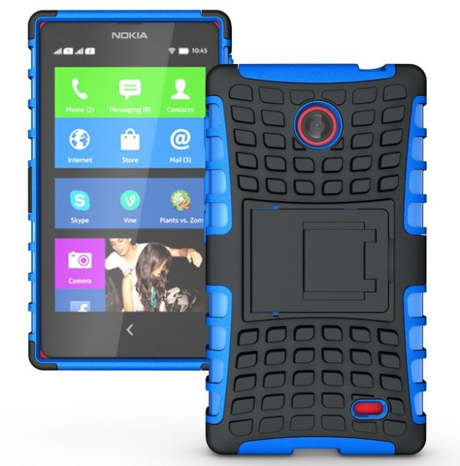 Armor Heavy Duty Hard Cover Case For Nokia X X+ 1045 A110 Silicone Protective Skin Double Color Stand Shock Proof(China (Mainland))