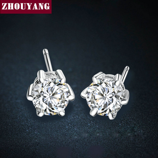Six Claws 5mm 0.5ct Stellux CZ Diamond 18K Real Gold Platinum Plated Silver Color Crystal Stud Earrings Jewelry Wholesale E035
