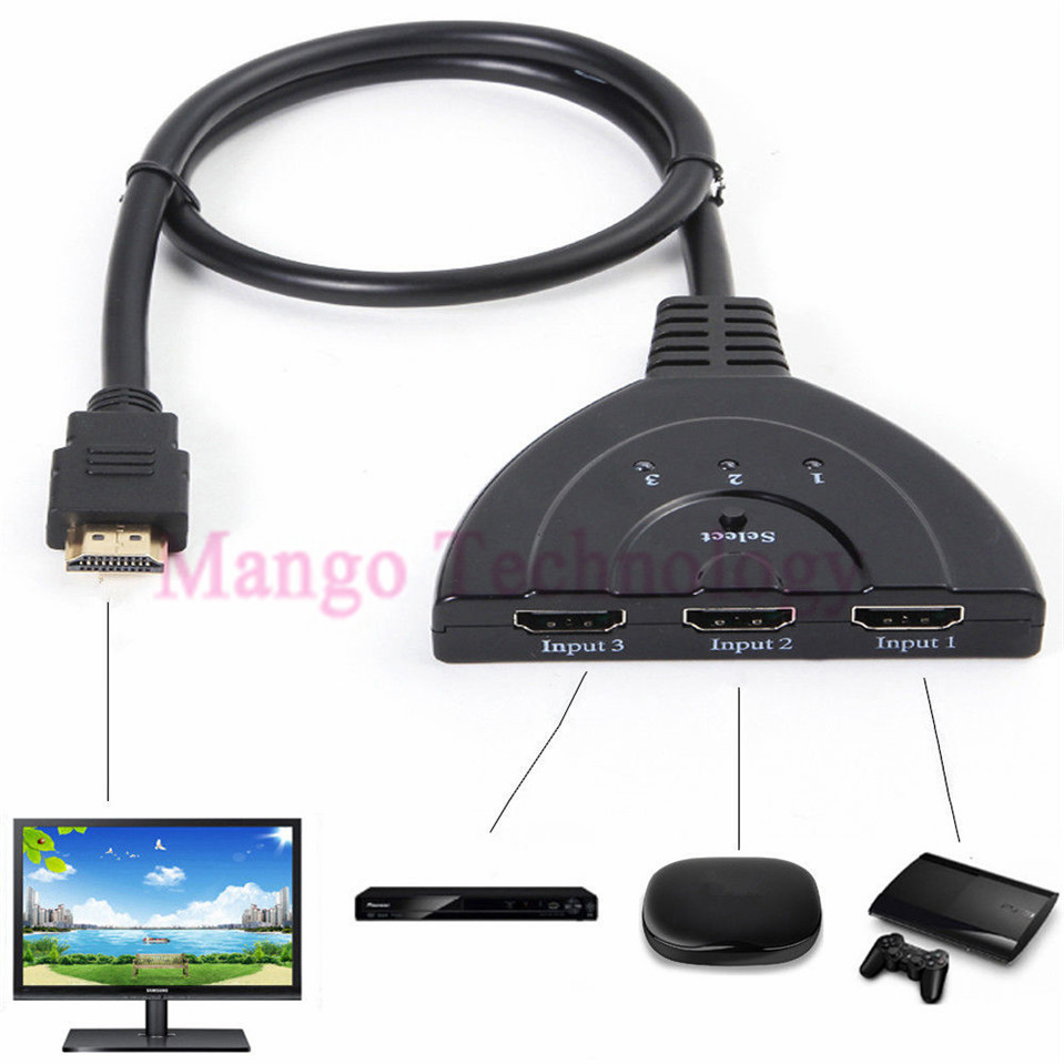 2016 1080p hd tv adapter cable 3 port hdmi multi display for 2 1 2 box auto