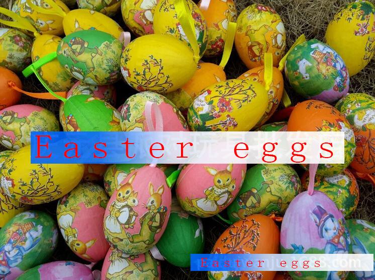 6 p simulazione colorate uova di pasqua di plastica luminoso uovo assortimento autoadesivo handmade pasqua natale del pendente diy uova di pasqua grande(China (Mainland))
