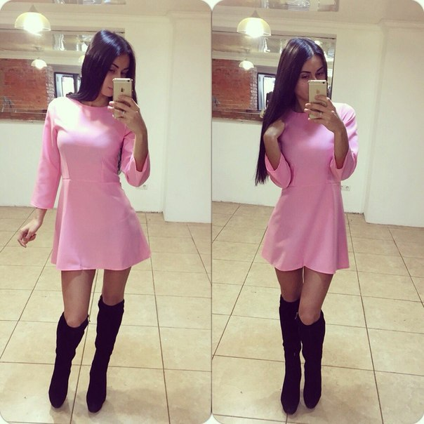 Europe 2015 new cute pink dress with long sleeves MSW061(China (Mainland))