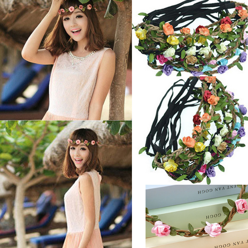 2016 Fashion Women Flower Headband Bohemian Hair Accessories Beach Wedding Hair Bands Baby Headbands for Women Headwear(China (Mainland))