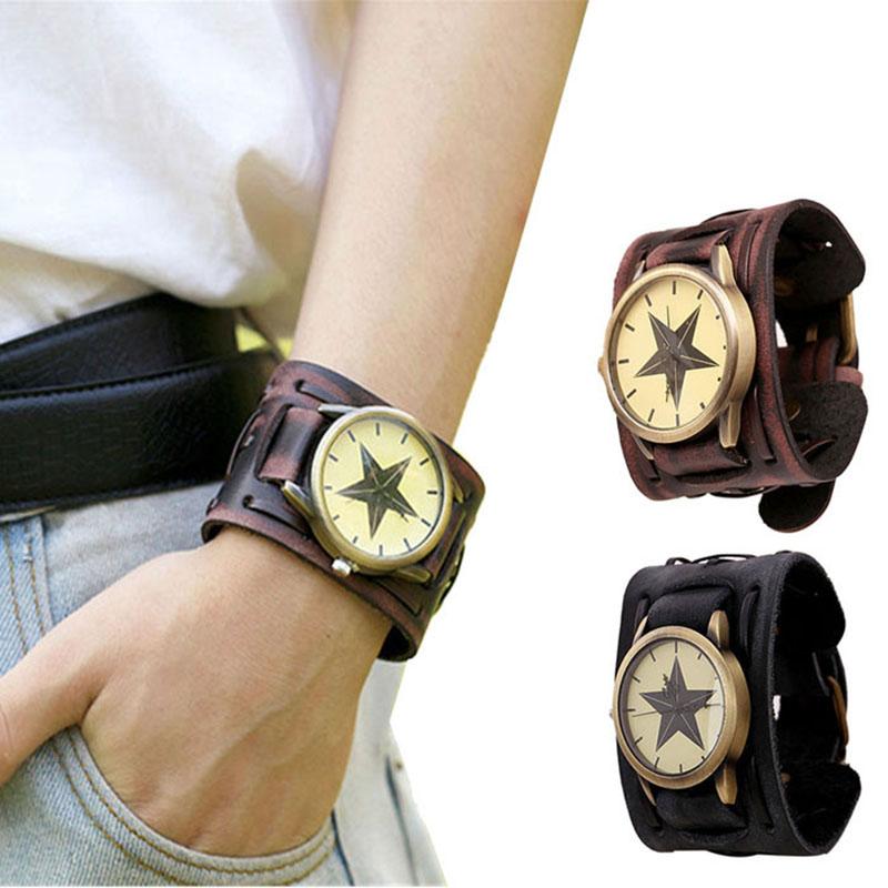 Men Cool Watch 2016 New Style Retro Punk Rock Brown Big Wide Leather Bracelet Cuff Waist Watch Male Clock Relogios Masculino(China (Mainland))
