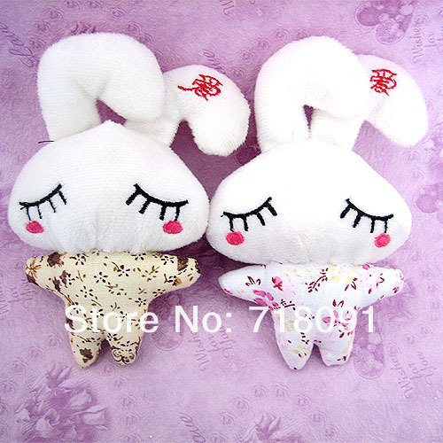 Free shipping/wholesale/hot sale plush/stuffed toy rabbit key ring for promotion gifts,Valentine's day flowers,8cm,120pcs/lot