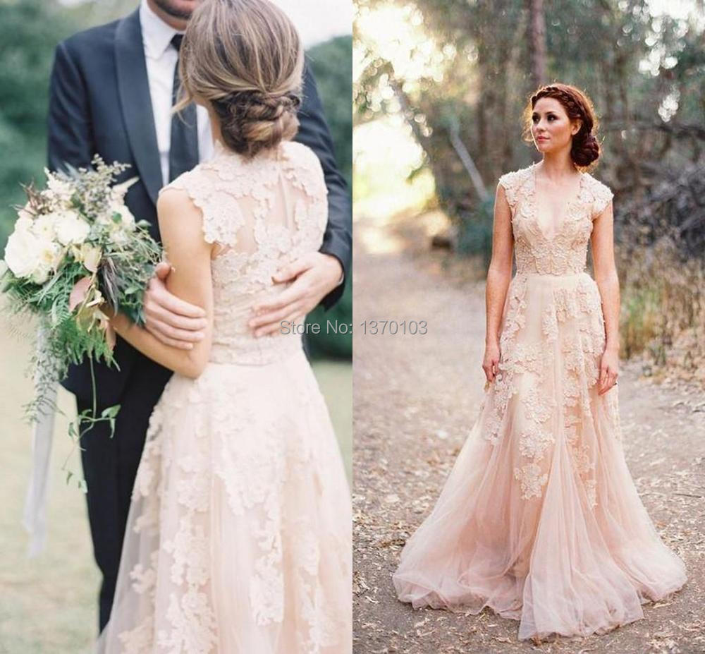Deep V Cap Sleeves Pink Lace Applique Tulle Sheer Wedding Dresses 2015 Cheap Vintage A Line Reem Acra Latest Blush Wedding Brida(China (Mainland))