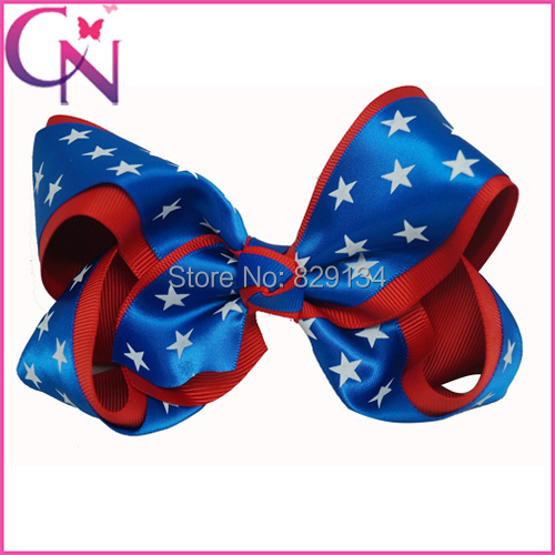 Newest Forth Of July Girls Hairbows Red Blue White Stars Popular Childrens Headwear Handmade Hair Bow with Clip CNHBW-1503236()