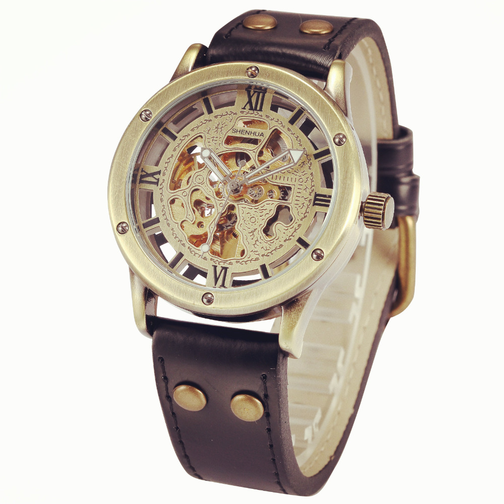 Vintage Bronze Automatic Auto Mechanical Skeleton Analog Leather Strap 2016 New Relojes Hombre Clock Men Casual Wrist Watch(China (Mainland))