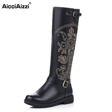 Buy Vintage Women Genuine Real Leather Knee Boots Winter Boot Sexy Square Heel Round Toe Zipper Fashion Women Boots Shoes Size 33-40 for $58.53 in AliExpress store