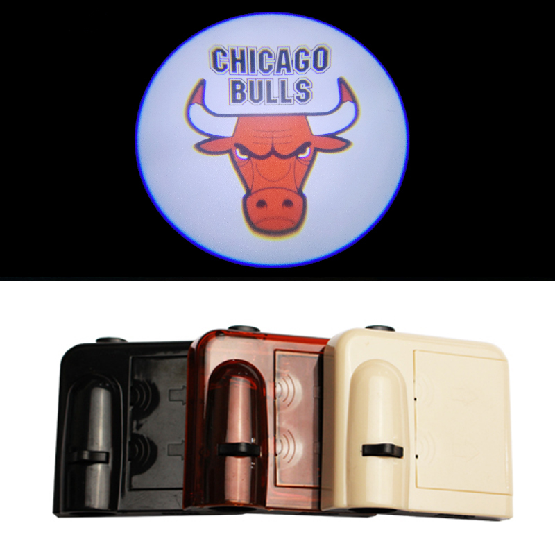 Car LED Door Welcome Projector Logo Ghost Shadow Laser Lights for CHICAGO BULLS Team Logo Wireless Courtesy No Drill(China (Mainland))