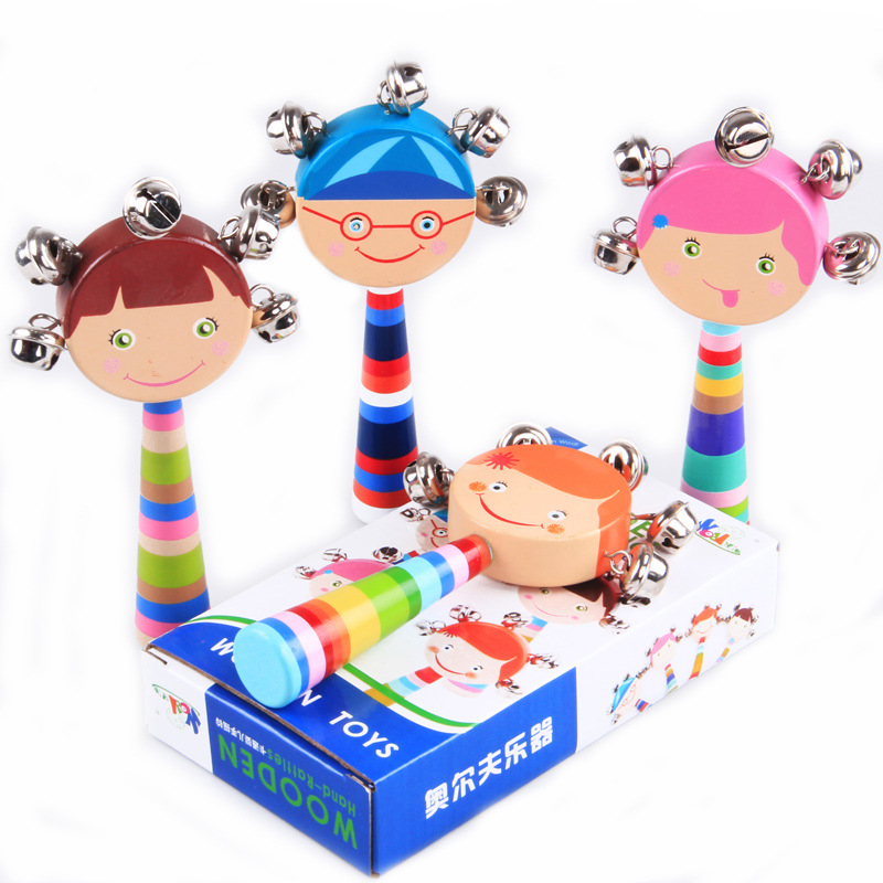 Wooden rattle rattle toys, children's educational toys newborn baby 0-12 months 1 -year-old shake bells(China (Mainland))